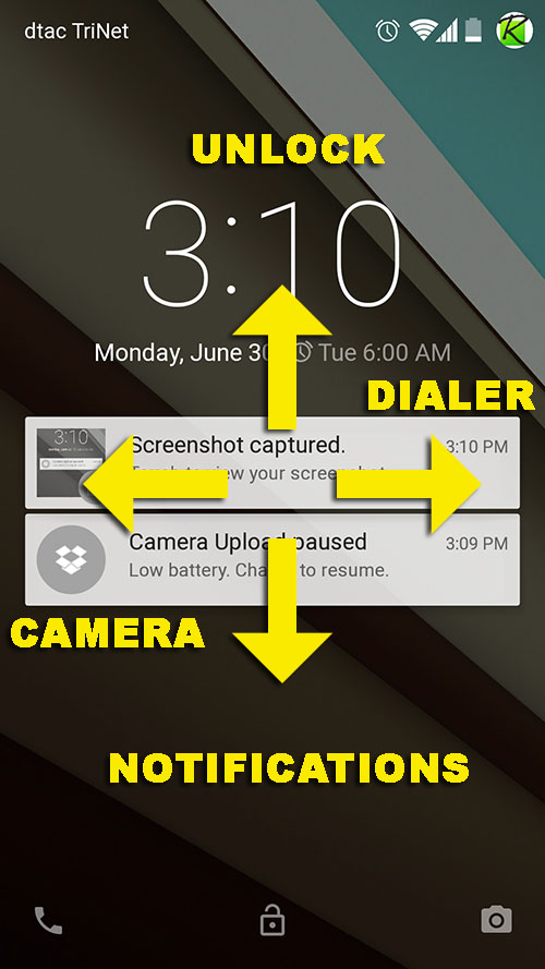 Four directions of swiping on Android L Lockscreen